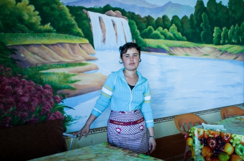 girl in the restaurant in samarkand